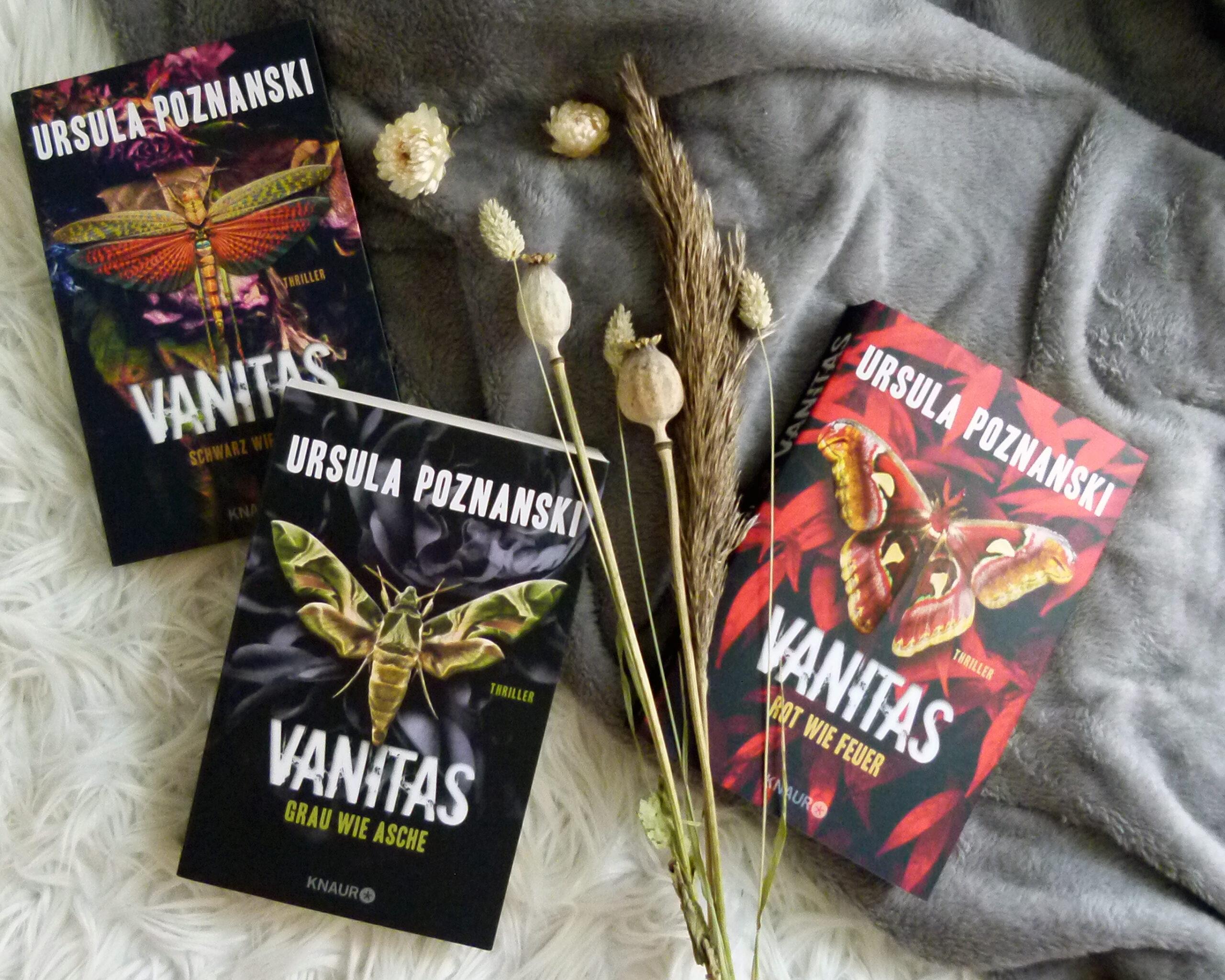 Die drei Bücher der Thriller-Trilogie liegen nebeneinander auf einem weiß-grauen Hintergrund. Zwei Bücher liegen linkerhand, das andere rechts. Dazwischen liegen Trockenblumen (hauptsächlich Gröser).