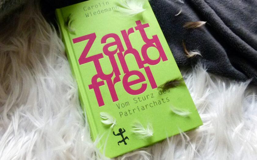 Das Buch liegt hal-halb auf einem weißen, flauschigen Hintergrund und auf einer grauen Decke. Auf dem Buch und rechts oben sind kleine weiße und braune Federn drapiert.