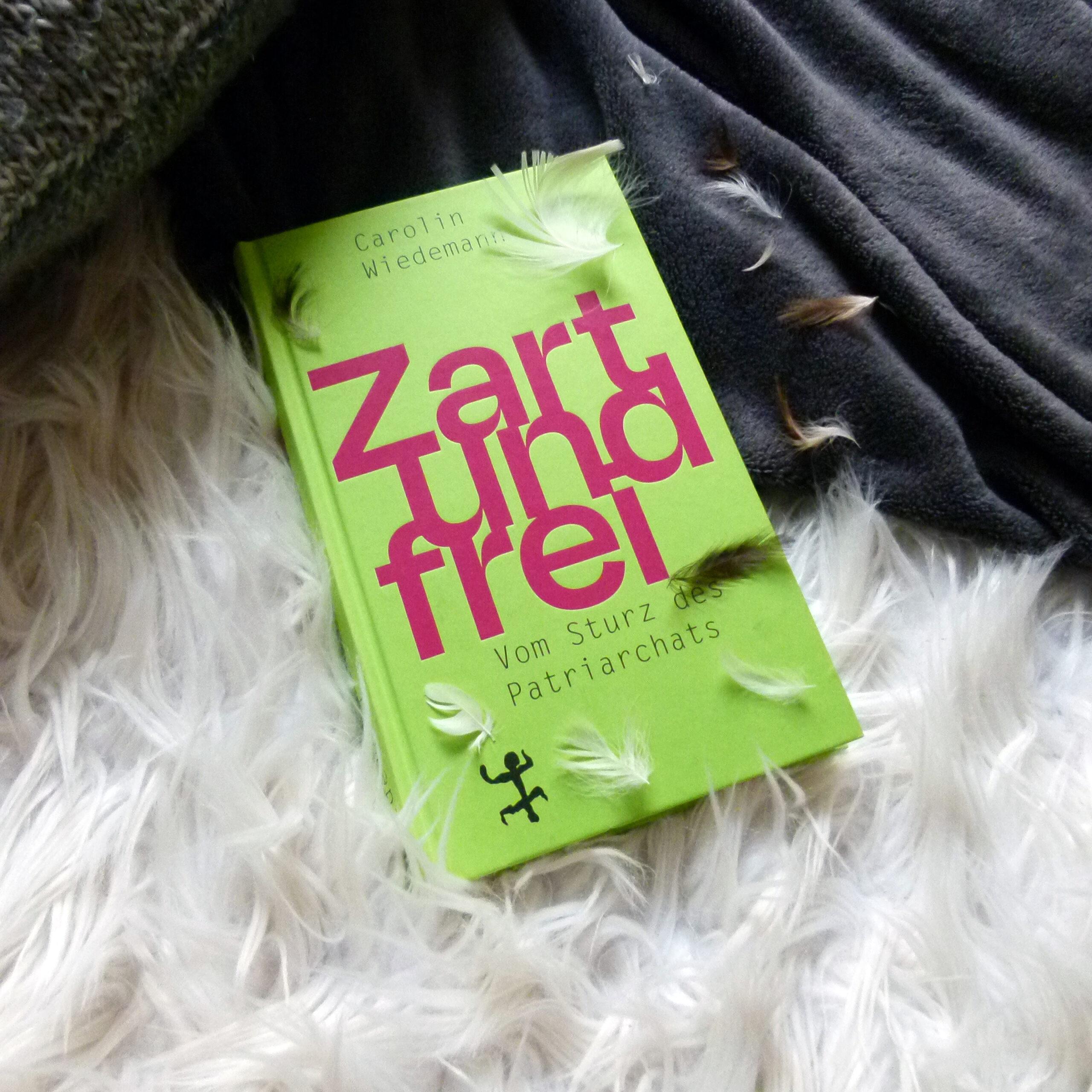 Das Buch liegt halb-halb auf einem weißen, flauschigen Hintergrund und auf einer grauen Decke. Auf dem Buch und rechts oben sind kleine weiße und braune Federn drapiert.